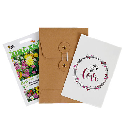 Lots of love - biologisch bedankje zadenpakket met ansichtkaart