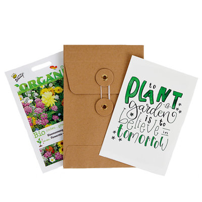 To plant a garden is to believe in tomorrow - biologisch bedankje zadenpakket met ansichtkaart