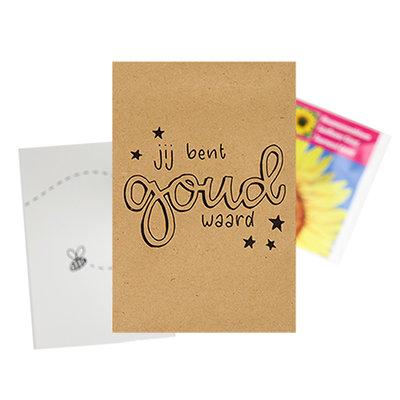 Je bent goud waard - bedankje zaden in kraft zakje met kaartje