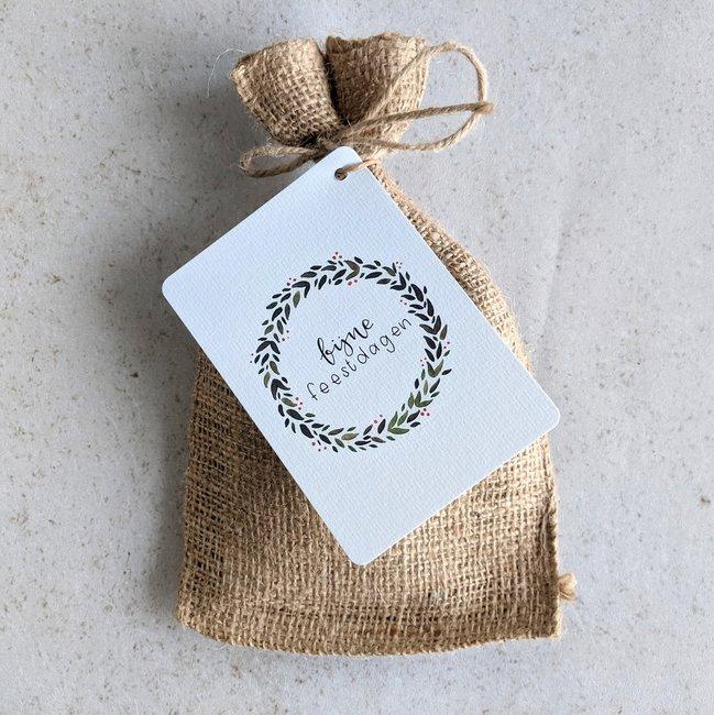 Fijne feestdagen - Bedankje zadenpakket in jute zakje