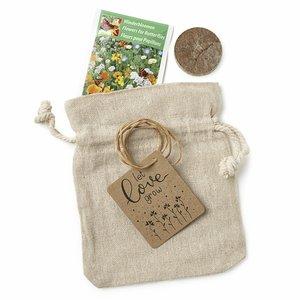 Trouwbedankje zaden in linnenzakje - Let Love Grow