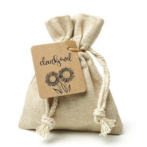 Dankjewel - bedankje zaden in linnenzakje. Een origineel bedankje.