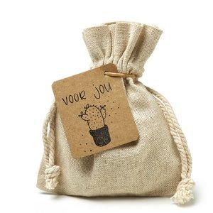 Voor jou - bedankje zaden in linnenzakje