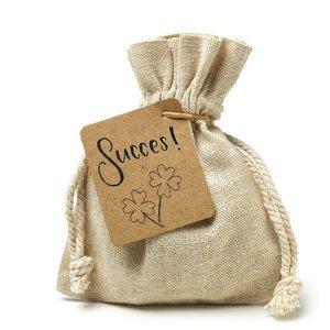 Succes - bedankje zaden in linnenzakje
