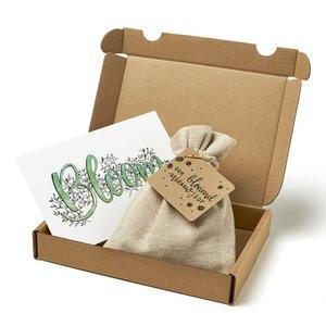 Een bloeiend nieuwjaar - Brievenbus bedankje; zaden in linnenzakje met ansichtkaart