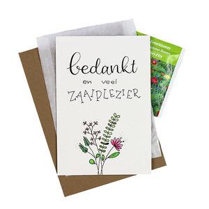 Bloemenzaden met kaart 'Bedankt en veel zaaiplezier' verpakt in pergamijn zakje
