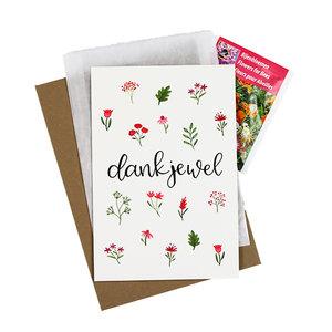 Bloemenzaden met kaart 'Dankjewel' verpakt in pergamijn zakje