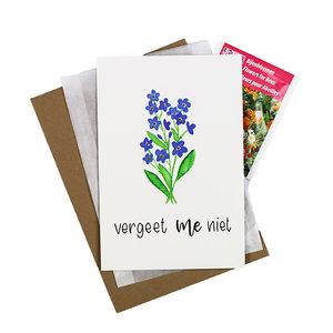 Bloemenzaden met kaart 'Vergeet me niet' verpakt in pergamijn zakje