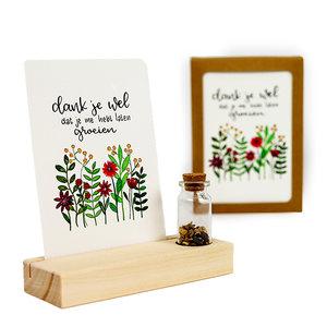 Dankjewel dat je me laat groeien - Bedankje zaden in glazen flesje met kaart en standaard