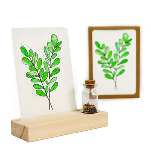 Groen blad - Bedankje zaden in glazen flesje met kaart en standaard