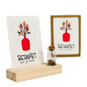 Bedankt voor je inzet - Bedankje zaden in glazen flesje met kaart en standaard