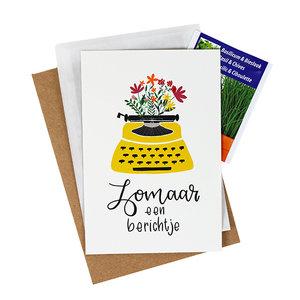 Bloemenzaden met kaart 'zomaar een berichtje' verpakt in pergamijn zakje