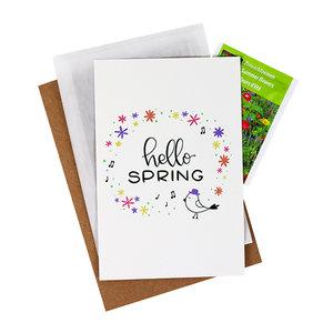 Bloemenzaden met kaart 'hello spring' verpakt in pergamijn zakje