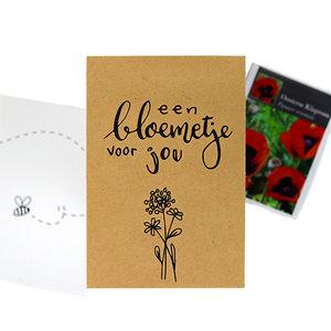 Een bloemetje voor jou - bedankje zaden in kraft zakje met kaartje