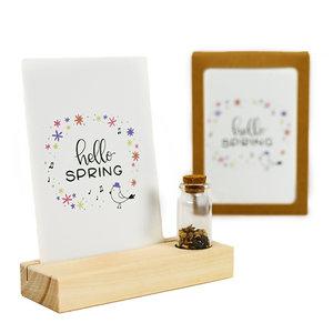 Hello spring - Bedankje zaden in glazen flesje met kaart en standaard
