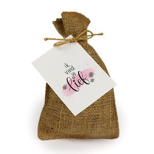 Ik vind je lief - Bedankje zadenpakket in jute zakje