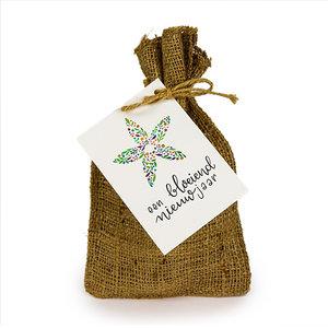 Een bloeiend nieuwjaar - Bedankje zadenpakket in jute zakje