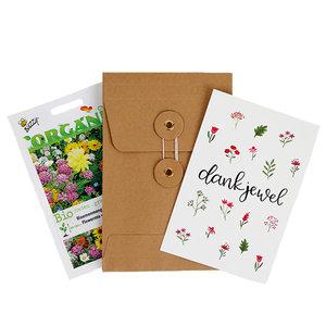 Dankjewel  - biologisch zadenpakket met ansichtkaart