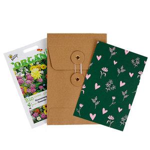Hartjes en bloemetjes - biologisch zadenpakket met ansichtkaart