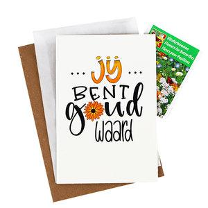 Bloemenzaden met kaart 'Jij bent goud waard' verpakt in pergamijn zakje