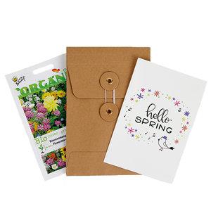 Hello Spring - biologisch bedankje zadenpakket met ansichtkaart