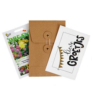 Lieve groetjes - biologisch bedankje zadenpakket met ansichtkaart