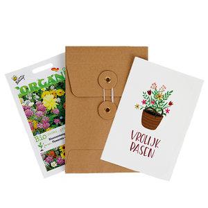 Inhoud bedankje biologisch zadenpakket met kaart verpakt in Japanse envelop