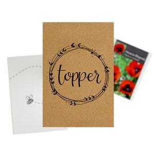Topper - bedankje zaden in kraft zakje met kaartje
