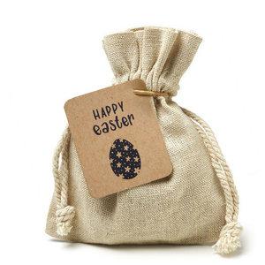 Happy easter - bedankje zaden in linnenzakje