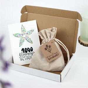 Brievenbus bedankje vrijwilliger bedankt; zaden in linnenzakje met ansichtkaart