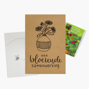 Een bloeiende samenwerking - bedankje zaden in kraft zakje met kaartje