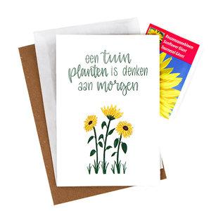 Bloemenzaden met kaart 'Een tuin planten is denken aan morgen' verpakt in pergamijn zakje