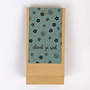 Bedankje bloembollen in kraft cadeauzakje - dank je wel