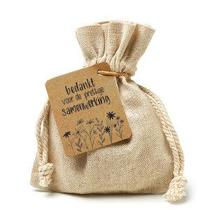 Bedankt voor de prettige samenwerking - bedankje zaden in linnenzakje