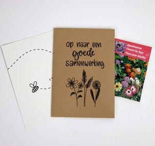 Op naar een goede samenwerking - bedankje zaden in kraft zakje met kaartje