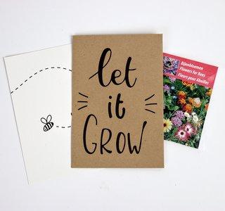 Let it grow - bedankje zaden in kraft zakje met kaartje
